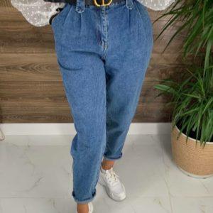 Приобрести женские синие джинсы с защипами (размер 42-48) выгодно
