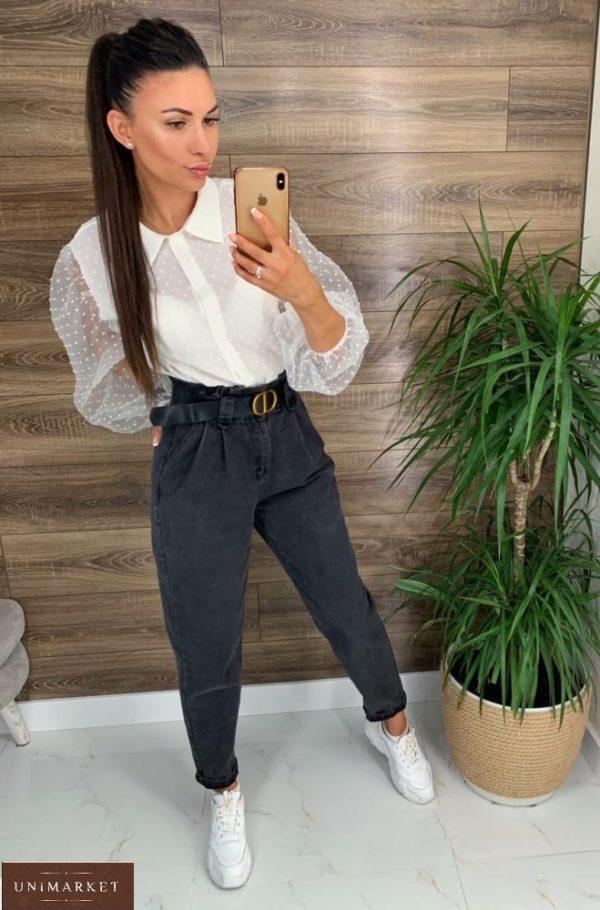 Купить выгодно серые джинсы с защипами (размер 42-48) для женщин