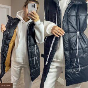 Купить недорого черную удлиненную жилетку с затяжкой (размер 42-48) для женщин