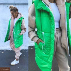 Заказать в интернете зеленую удлиненную жилетку с затяжкой (размер 42-48) для женщин