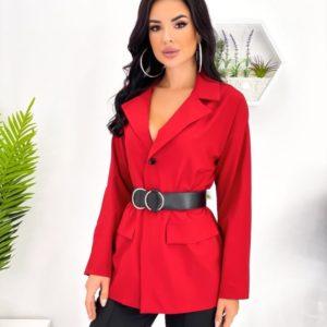 Купити червоний жіночий брючний костюм з піджаком (розмір 42-52) в Україні