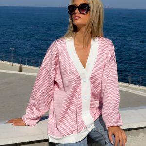 Купити онлайн жіночий трикотажний кардиган на флісі рожевий