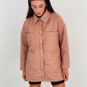Заказать по скидке пудра стёганную куртку-рубашку для женщин