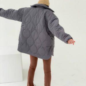 Заказать серую женскую куртку стежку на флисе (размер 42-48) онлайн