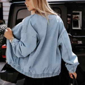 Купить выгодно голубую объёмную джинсовку на змейке для женщин