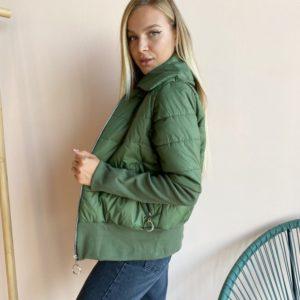 Заказать выгодно хаки короткую куртку с довязом для женщин
