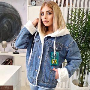 Купить женскую голубую, белую куртку джинсовая на меху с капюшоном (размер 44-48) дешево