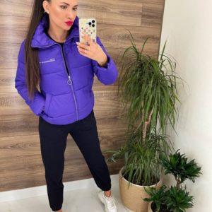 Купить женскую онлайн короткую спортивную куртку фиолет