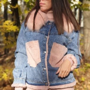 Купить розоую джинсовку с мехом для женщин в Украине