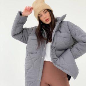 Заказать серого цвета женскую куртку стежку на флисе (размер 42-48) в Украине