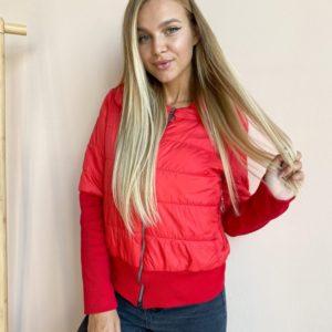 Купить женскую красную короткую куртку с довязом в Украине