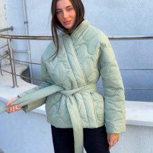 Заказать по скидке женскую стёганную куртку на запах (размер 42-52) оливка