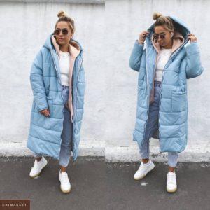Заказать голубого цвета женское объемное зимнее пальто свободного кроя в Украине