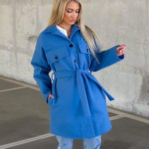 Купити блакитне жіноче кашемірове пальто з поясом (розмір 42-52) по знижці