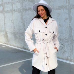 Купити недорого бежеве кашемірове пальто з поясом (розмір 42-52) для жінок
