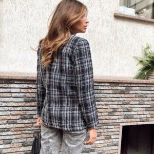 Купити твідовий піджак букле чорно-білий жіночий в Україні