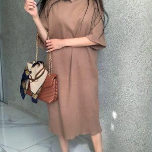 Замовити онлайн мокко трикотажне плаття-туніку оверсайз для жінок