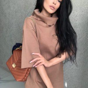 Купити за низькими цінами жіноче трикотажне плаття-туніку оверсайз кольору мокко