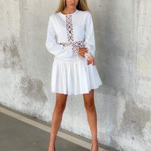 Купить белое платье с вставками с узором (размер 42-52) по скидке для женщин