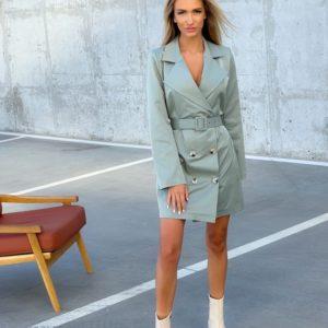 Купити зі знижкою плаття-піджак з поясом (розмір 42-52) для жінок оливка