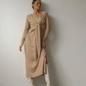 Замовити по знижці бежеве жіноче плаття-локшина з зав'язкою (розмір 42-48)