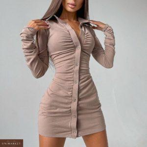 Заказать онлайн бежевое замшевое платье мини на пуговицах для женщин