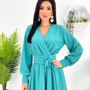 Купити зі знижкою бірюзове плаття міді з довгим рукавом (розмір 42-48) для жінок