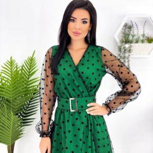 Купити зелене жіноче плаття в горошок з блискучою сіткою (розмір 42-52) по знижці