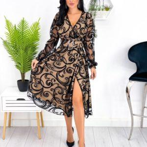 Купити чорне плаття жіноче на запах з напиленням (розмір 42-52) онлайн