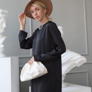 Купить по скидке черное классическое платье с длинным рукавом для женщин