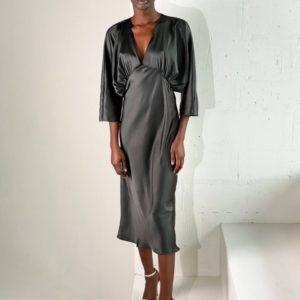 Купить черное женское шелковое платье с рукавом 3/4 онлайн