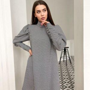 Купить черно-белое женское тёплое платье в мелкую клетку (размер 42-48) в интернете