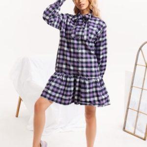 Заказать недорого фиолетовое байковое платье в клетку для женщин