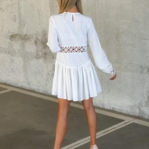 Заказать недорого женское платье с вставками с узором (размер 42-52) белого цвета