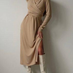 Купити жіночу бежеву сукню-локшина з зав'язкою (розмір 42-48) в інтернеті