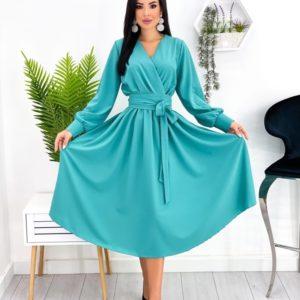 Замовити вигідно бірюзове жіноче плаття міді з довгим рукавом (розмір 42-48)