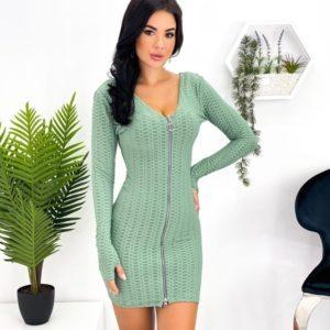 Купить по скидке оливковое трикотажное структурное платье со змейкой (размер 42-48) для женщин