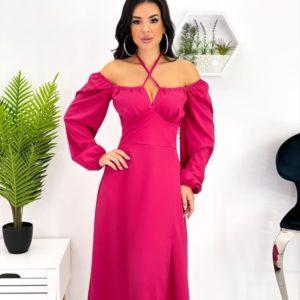 Купить недорого малиновое платье с длинным рукавом и декольте (размер 42-52) для женщин