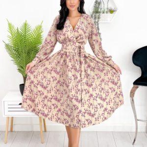 Купити беж жіноче плаття міді з принтом на запах (розмір 42-48) недорого