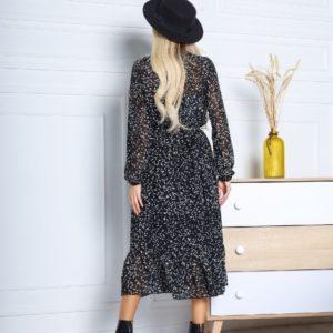 Заказать черное женское платье из шифона в мелкие цветы дешево