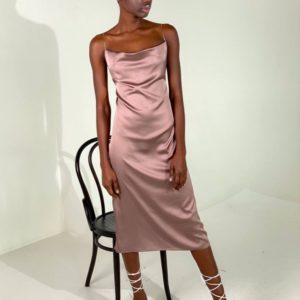 Купить выгодно женское шелковое платье комбинация с открытой спиной цвета пудра