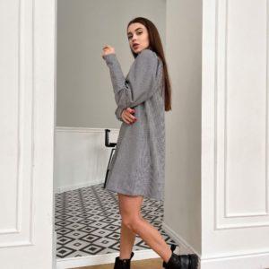 Заказать женское серое недорого тёплое платье в мелкую клетку (размер 42-48)