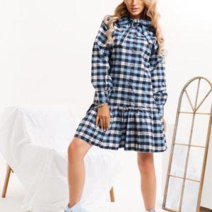 Заказать синее женское недорого байковое платье в клетку