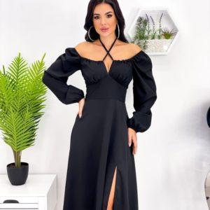 Заказать выгодно черное женское платье с длинным рукавом и декольте (размер 42-52)