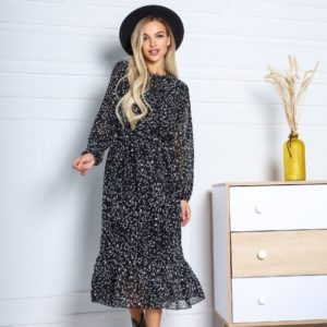 Приобрести черное женское платье из шифона в мелкие цветы онлайн