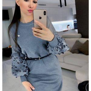 Купить серое женское вязаное платье с кружевными рукавами онлайн