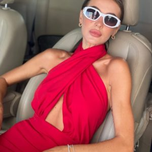 Купить красное женское платье с открытой спиной (размер 42-48) по скидке