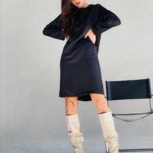 Приобрести черное классическое платье с длинным рукавом женское в Украине