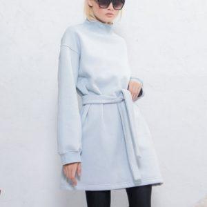 Заказать онлайн голубого цвета женское Заказать платье-тунику на флисе