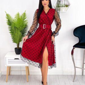 Замовити червоне жіноче плаття в горошок з блискучою сіткою (розмір 42-52) в Україні